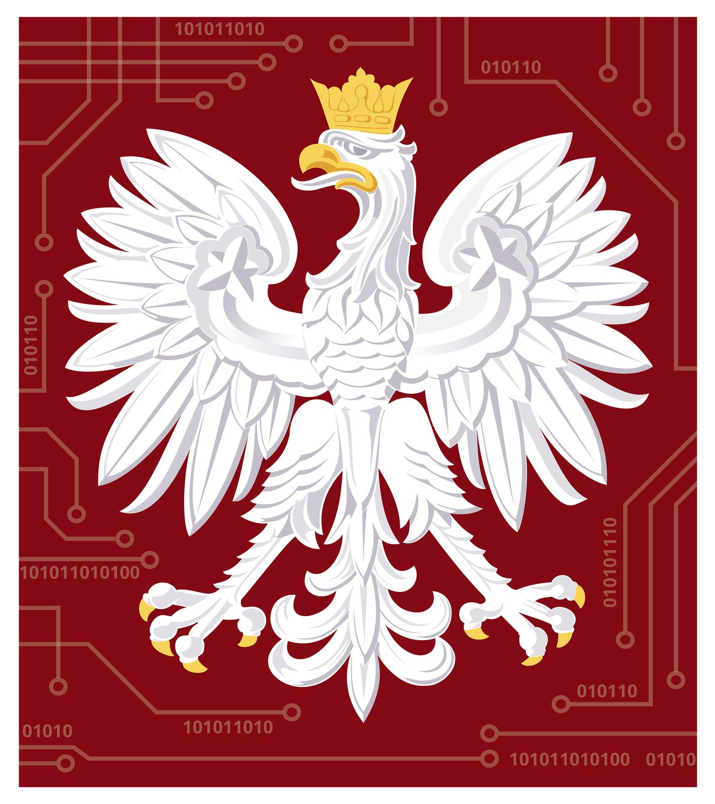 Ilustracja przedstawia Białego Orła ze złotą koroną na głowie. Głowa orła skierowana wprawo. Dziób złoty. Skrzydła rozpostarte. Orzeł na bordowym tle. Wokół liczby zero ijedynki ułożone wpoziomych rzędach.