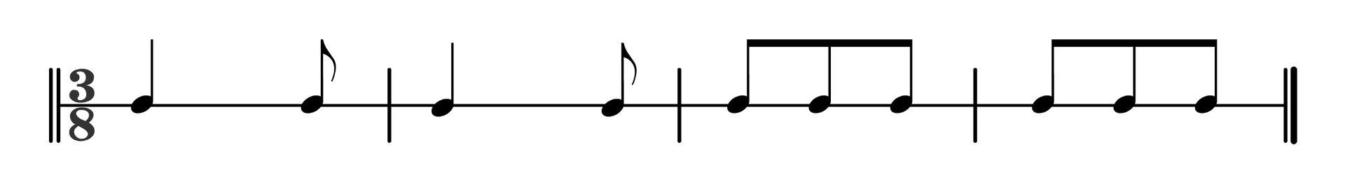 Zapis nutowy rytmicznego wstępu do oberka. Czterotaktowy rytm, wmetrum trzy ósme. Dwa pierwsze takty składają się zćwierćnuty iósemki. Dwa ostatnie takty ztrzech ósemek.