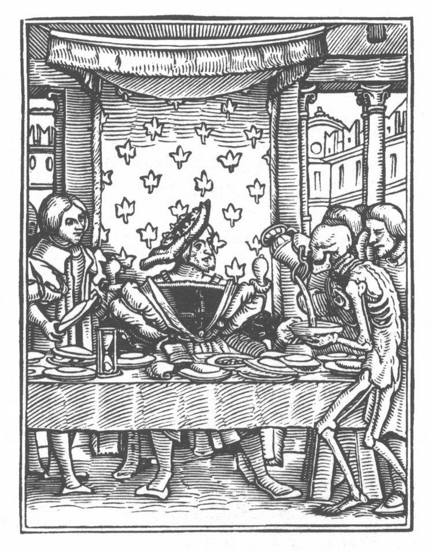 Danse Macabre - Taniec Śmierci Źródło: Hans Holbein młodszy, Danse Macabre - Taniec Śmierci, Die imposante Galerie, domena publiczna.