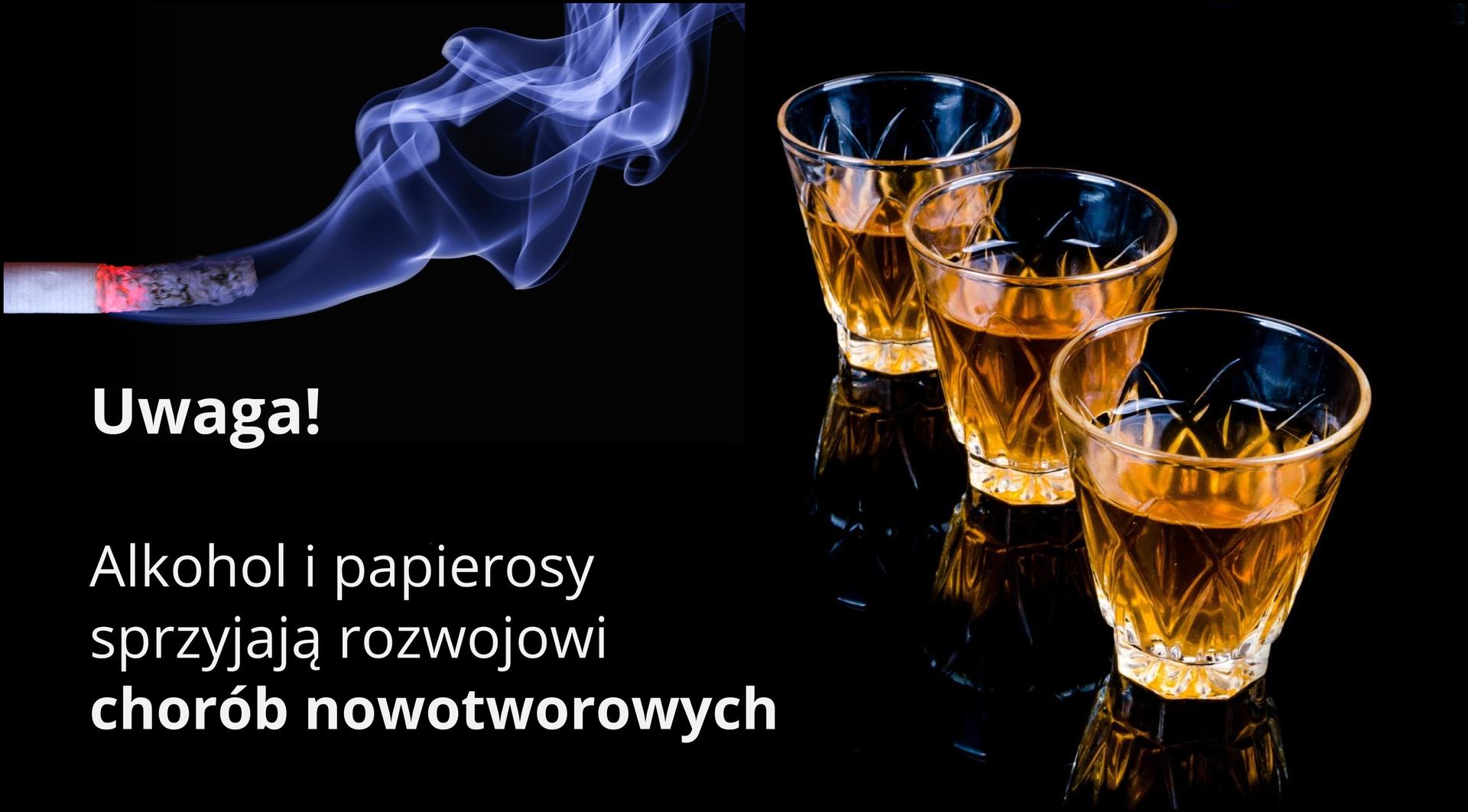 Alkohol jest związkiem zwiększającym działanie substancji rakotwórczych. Wtaki sposób alkohol działa uludzi poddanych ekspozycji na substancje rakotwórcze zawarte wdymie tytoniowym. Upalaczy rzadko występuje rak górnej części przewodu pokarmowego lub jamy ustnej, jednakże palacze tytoniu, którzy również piją alkohol, często zapadają na raka górnej części przewodu pokarmowego.