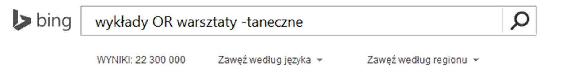 Zrzut paska wyszukiwarki Bing zwpisanymi słowami kluczowymi iznakiem minusa