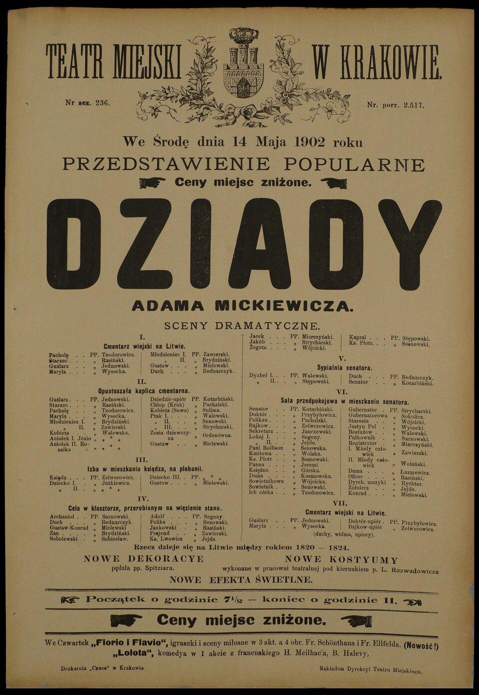 Dziady, afisz teatralny Dziady, afisz teatralny Źródło: Kraków 1902, domena publiczna.