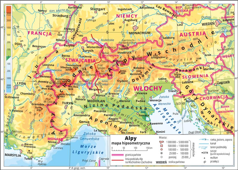 Ilustracja przedstawia mapę hipsometryczną państw Alpejskich – Austria, Francja, Liechtenstein, Monako, Niemcy, Słowenia, Szwajcaria, Włochy. Wobrębie lądów występują obszary wkolorze zielonym, żółtym ipomarańczowym. Morza zaznaczono kolorem niebieskim. Na mapie opisano nazwy wysp, półwyspów, nizin, wyżyn ipasm górskich, mórz, zatok, rzek ijezior. Oznaczono iopisano główne miasta. Oznaczono czarnymi kropkami iopisano szczyty górskie. Różową wstążką oznaczono granice państw. Kolorem czerwonym opisano państwa. Mapa pokryta jest równoleżnikami ipołudnikami. Dookoła mapy wbiałej ramce opisano współrzędne geograficzne co dwa stopnie. Wlegendzie przedstawiono iopisano znaki użyte na mapie.