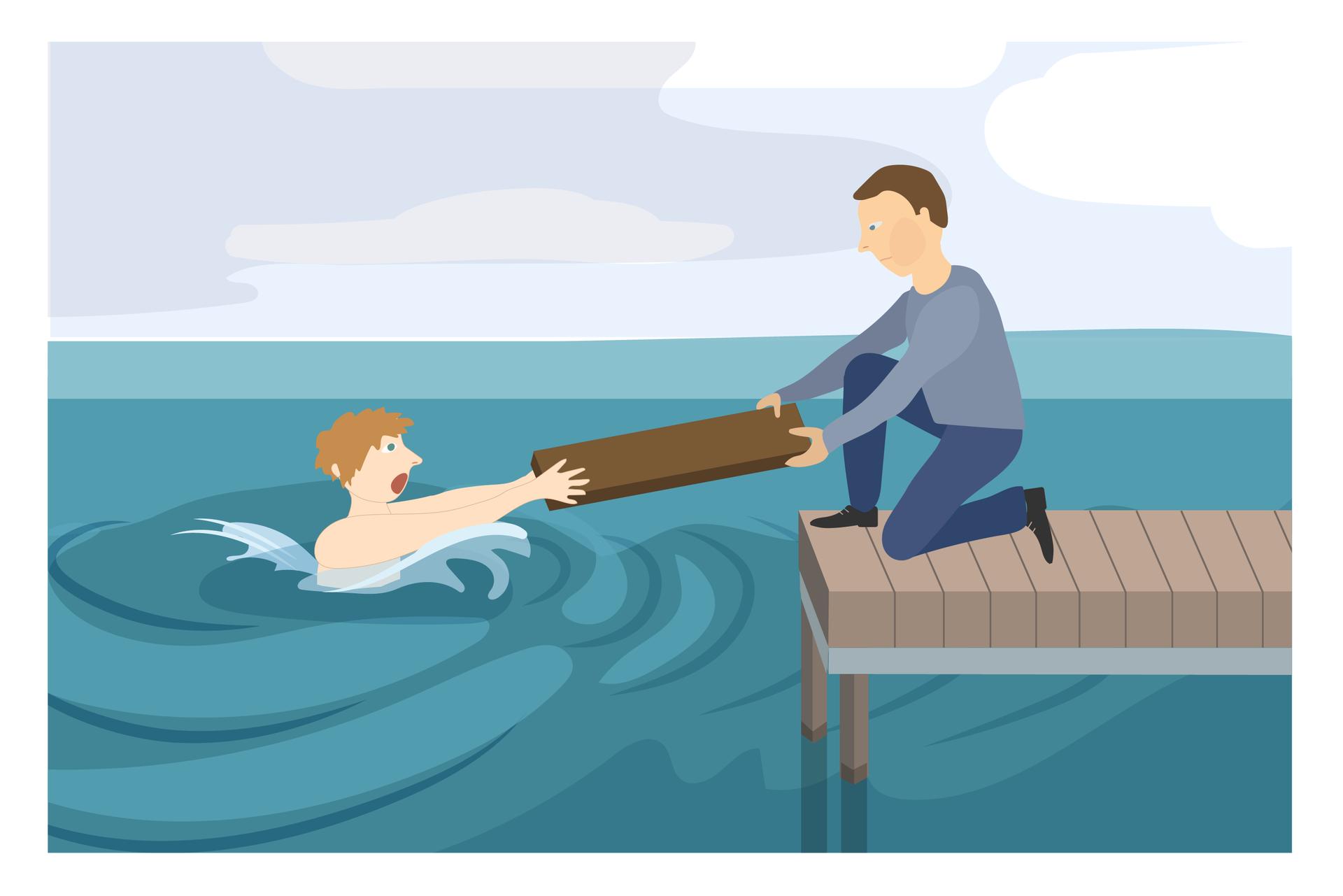 Ilustracja 2. Mężczyzna na pomoście klęczy skierowany wstronę osoby tonącej. Mężczyzna trzyma jeden koniec deski. Drugi koniec deski chwyta osoba tonąca. Tonący trzyma koniec deski obiema rękami. Instrukcja: sięgnij do niego jakimś przedmiotem (deską, kijem lub elementem ubioru).