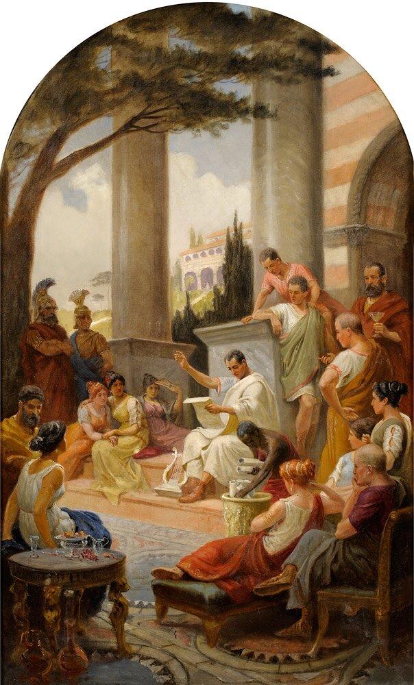 Horacy Źródło: Adalbert von Rössler, Horacy, olej na płótnie, domena publiczna.