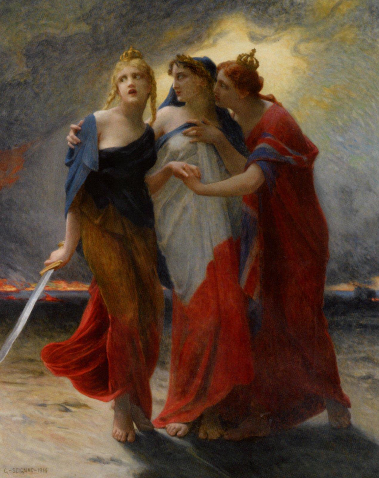 Trzy kobiety stoją obok siebie isię obejmują. Ta po lewej owinięta jest flagą Belgii czarno, żółto czerwoną, ma koronę na głowie itrzyma wręku miecz, ta po środku jest owinięta we flagę Francji, niebiesko, biało czerwoną, ata po prawej we flagę brytyjską ima na głowie koronę.