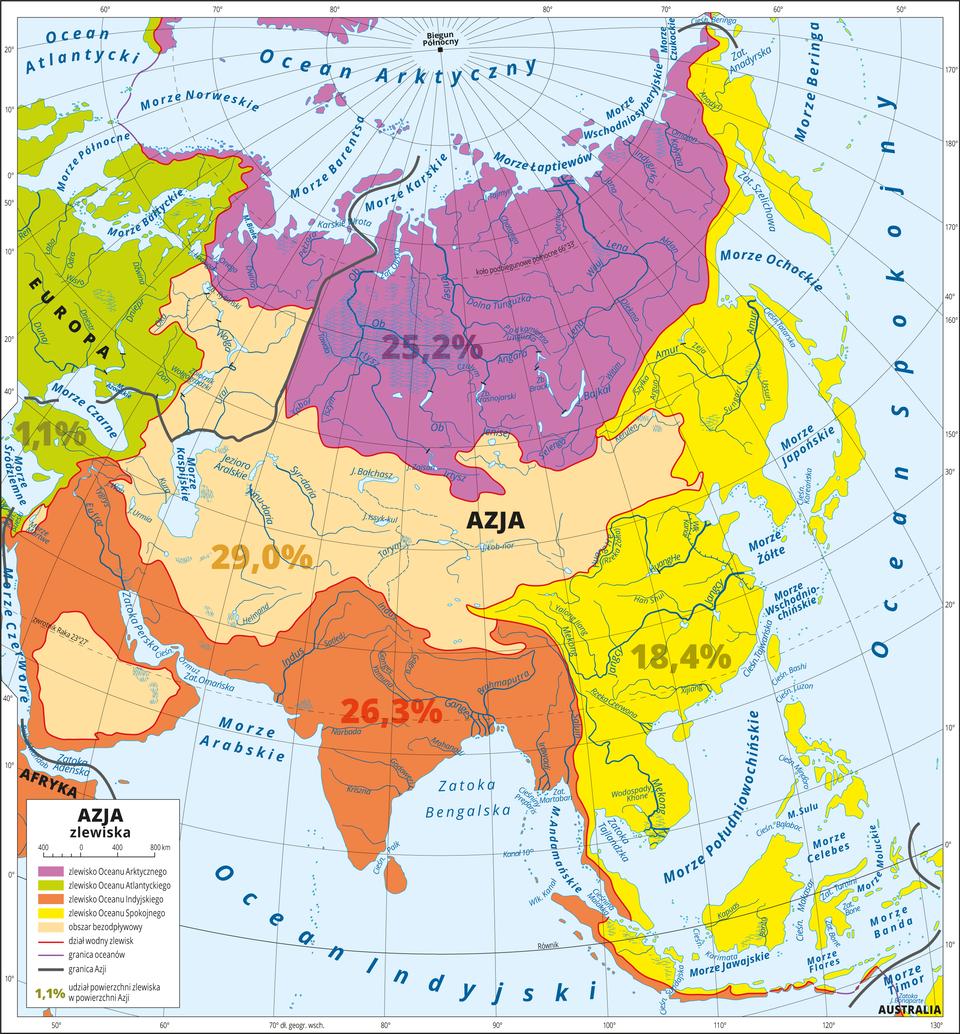 Ilustracja przedstawia mapę Azji. Kolorami przedstawiono zlewisko Oceanu Arktycznego na północy kontynentu (ponad 25 procent), obszar bezodpływowy wśrodkowej części kontynentu (29 procent), zlewisko Oceanu Indyjskiego na południu (ponad 26 procent), zlewisko Oceanu Spokojnego na wschodzie (ponad 18 procent). Niewielki obszar (około 1 procent) obejmuje zlewisko Oceanu Atlantyckiego, większa część tego zlewiska położona jest na terenie Europy. Na mapie zaznaczono: dział wodny zlewisk, granice oceanów igranice Azji. Mapa pokryta jest równoleżnikami ipołudnikami. Dookoła mapy wbiałej ramce opisano współrzędne geograficzne co dziesięć stopni. Wlegendzie umieszczono iopisano kolory użyte na mapie.