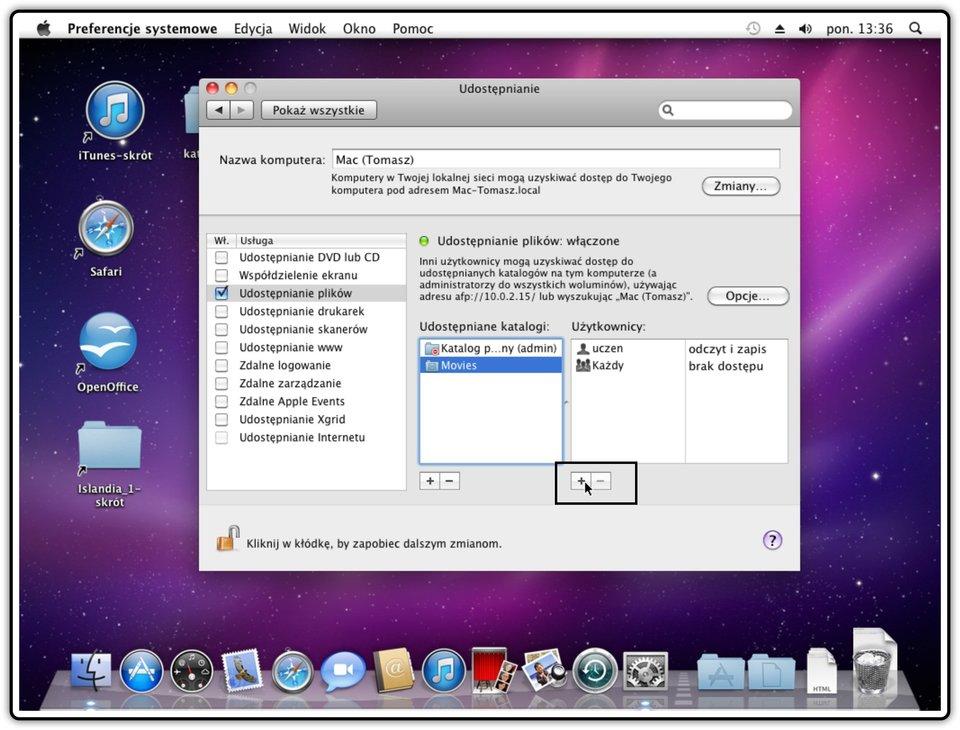 Ilustracja przedstawiająca: Krok 1 dodawania użytkownika, któremu będziemy udostępniać katalog wsystemie Mac OS X