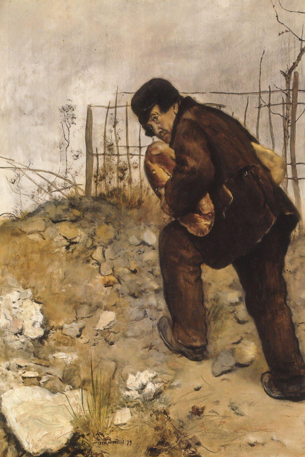 Mężczyzna zdwoma bochenkami chleba Źródło: Jean François Raffaëlli, Mężczyzna zdwoma bochenkami chleba, 1879, olej na płótnie, domena publiczna.