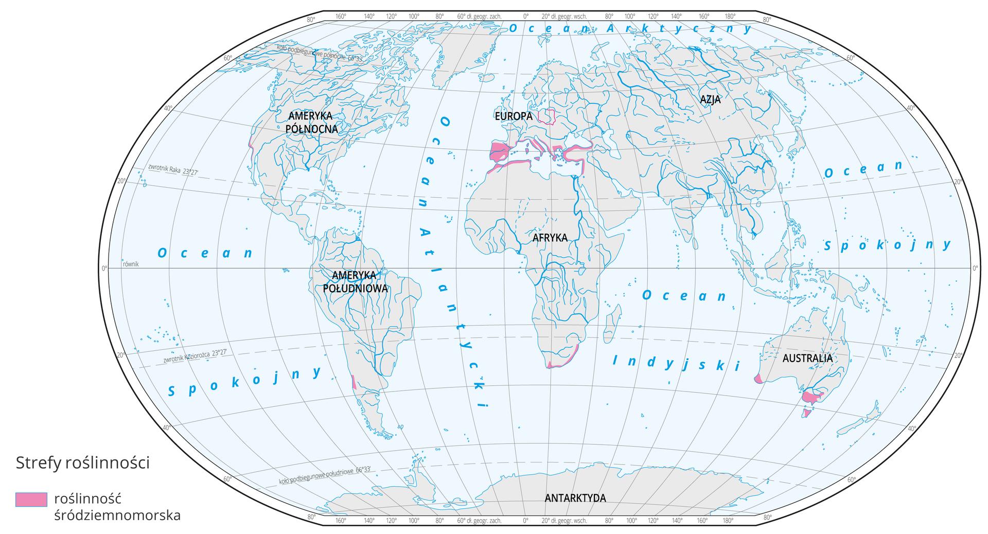 Mapa świata prezentuje występowanie klimatu śródziemnomorskiego na Ziemi. Klimat śródziemnomorski oznaczono kolorem fioletowym na mapie, który występuje: na wybrzeżach iwyspach Morza śródziemnego, na południu Afryki iAustralii.