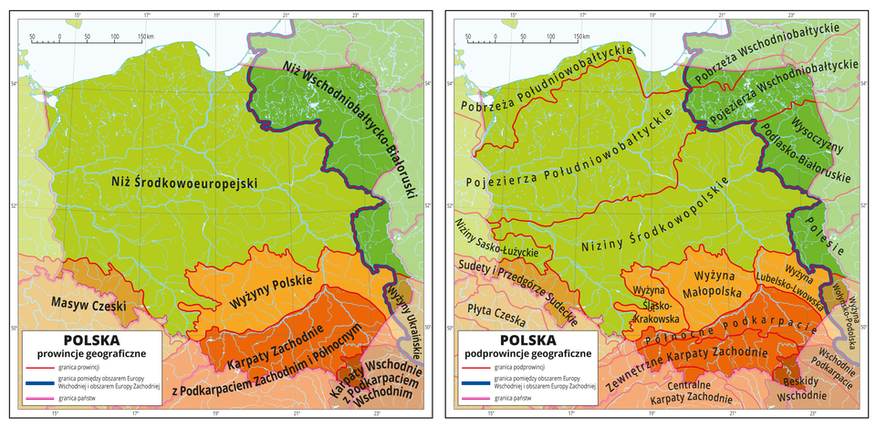 Ilustracja zawiera dwie mapy Polski, pierwsza zawiera prowincje geograficzne, adruga podprowincje geograficzne. Na pierwszej mapie czerwonymi liniami zaznaczono granice między prowincjami geograficznymi, Różnymi odcieniami koloru czerwonego, pomarańczowego izielonego oznaczono poszczególne prowincje iopisano je: Niż Środkowoeuropejski, Niż Wschodniobałtycko-Białoruski, Masyw Czeski, Wyżyny Polskie, Wyżyny Ukraińskie, Karpaty Zachodnie zPodkarpaciem Zachodnim iPółnocnym oraz Karpaty Wschodnie zPodkarpaciem Wschodnim. Wszystkie te prowincje obejmują tereny Polski isięgają poza granice kraju. Największą część mapy zajmuje Niż Środkowoeuropejski obejmujący zachodnią, północno-zachodnią icentralną część Polski oraz Niemcy. Na drugiej mapie różnymi odcieniami koloru czerwonego, pomarańczowego izielonego oznaczono poszczególne prowincje zpierwszej mapy, aczerwonymi liniami zaznaczono granice między podprowincjami geograficznymi wramach wydzielonych wcześniej prowincji iopisano je. Wobrębie Niżu Środkowoeuropejskiego opisano Pobrzeża Południowobałtyckie iPojezierza Południowobałtyckie oraz Niziny Środkowopolskie iNiziny Sasko-Łużyckie. Wobrębie Wyżyn Polskich opisano Wyżynę Śląsko-Krakowską, Wyżynę Małopolską iWyżynę Lubelsko-Lwowską. Karpaty Wschodnie iZachodnie również rozbito na pięć mniejszych podprowincji, które opisano. Niż Wschodniobałtycko-Białoruski obejmuje cztery podprowincje, awobrębie prowincji Wyżyny Ukraińskie znalazła się podprowincja Wyżyna Wołyńsko-Podolska.