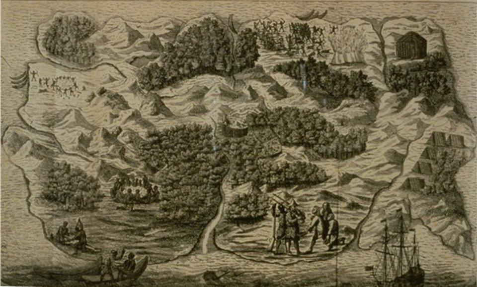 Mapa wyspy zamieszkanej przez Robinsona, dołączona do Robinsona Crusoe poważnych rozmyślań wydanych w1720 roku. Na podstawie przytoczonego powyżej fragmentu utworu ustal, do którego miejsca na wyspie dotarł Crusoe Mapa wyspy zamieszkanej przez Robinsona, dołączona do Robinsona Crusoe poważnych rozmyślań wydanych w1720 roku. Na podstawie przytoczonego powyżej fragmentu utworu ustal, do którego miejsca na wyspie dotarł Crusoe Źródło: domena publiczna.