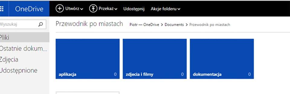 """3 foldery podrzędne względem folderu \""""Poradnik po miastach\"""": aplikacja, zdjęcia ifilmy, dokumentacja"""