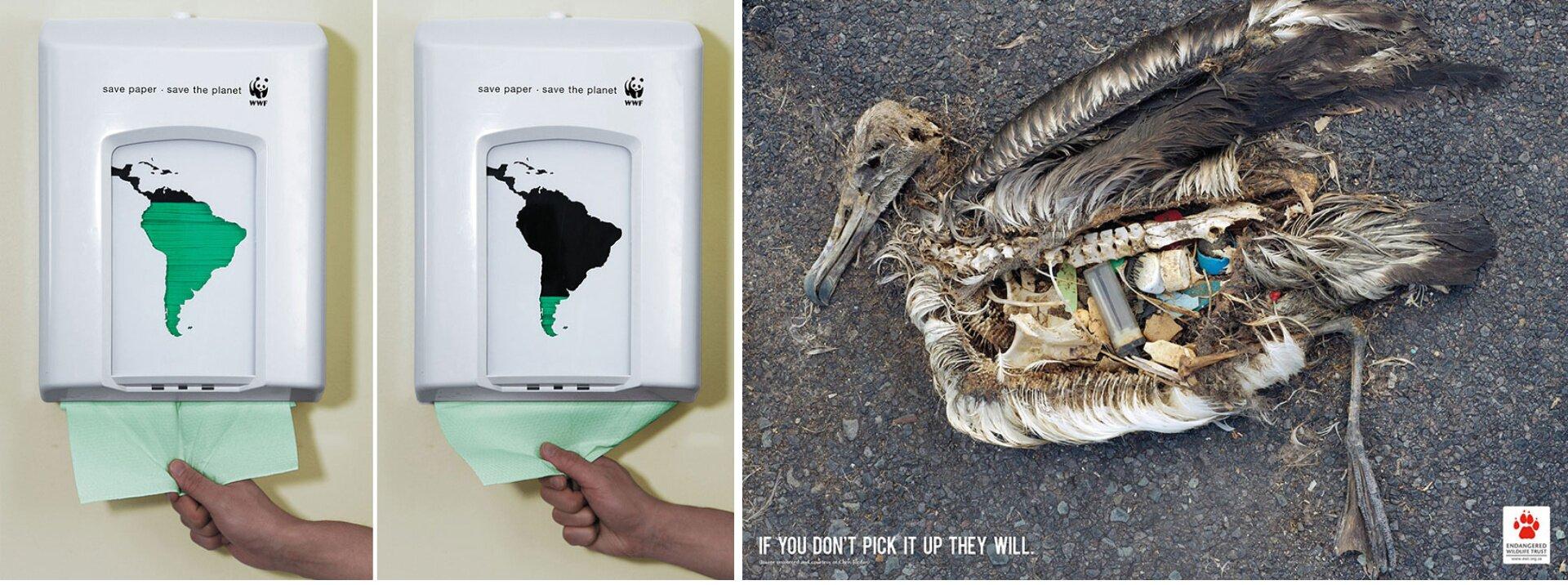 """Reklama społeczna WWF, """"Safe paper, safe the planet"""", Reklama zwracająca uwagę na zanieczyszczenie środowiska: """"If You Don't Pick It Up They Will"""". Składa się ztrzech obrazków. Na pierwszycg dwóch przedstawiony jest pojemnik na papier. Na pojemniku narysowana jest Ameryka Południowa, na pierwszym obrazku wkolorze zielonym, na drugim obrazku wkolorze czarnym - tylko południowa niewielka część kontynentu jest zielona. Trzeci obrazek przedstawia uschnięte ciało kaczki, która wswoich wnętrznościach ma zapalniczkę, plastikowe korki od butelek."""