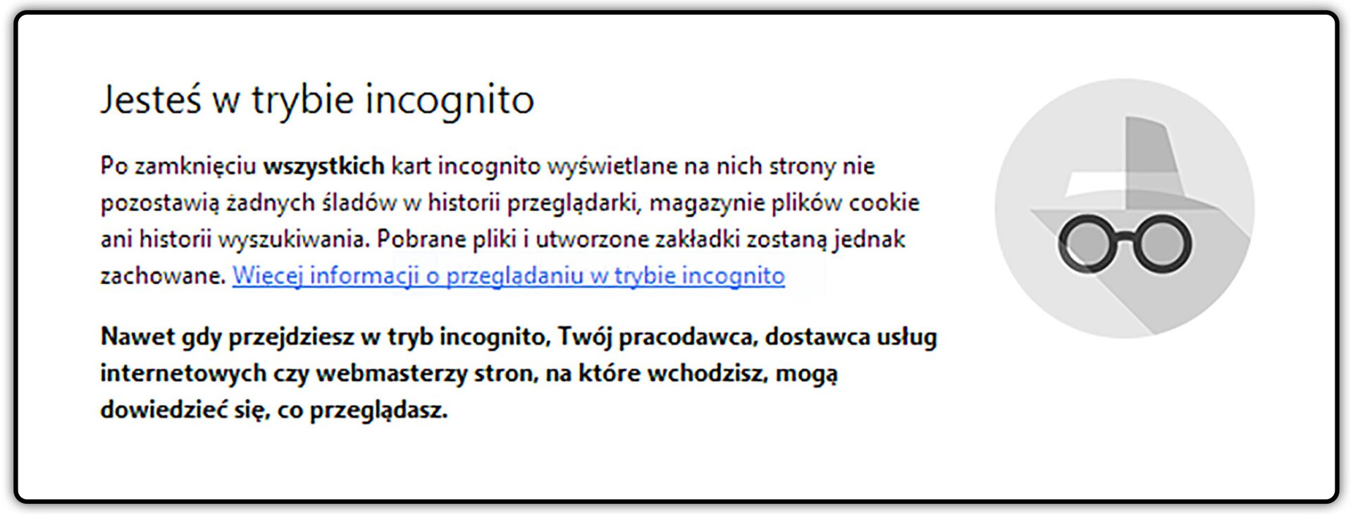 Zrzut okna przeglądarki Chrome zwłączonym trybem Incognito