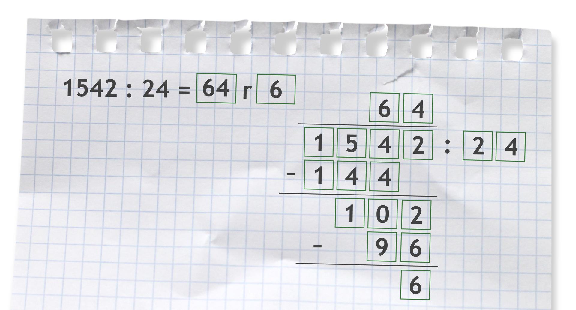 Przykład: 1542 dzielone przez 24 =64 r6. Rozwiązanie zadania podpunkt a.