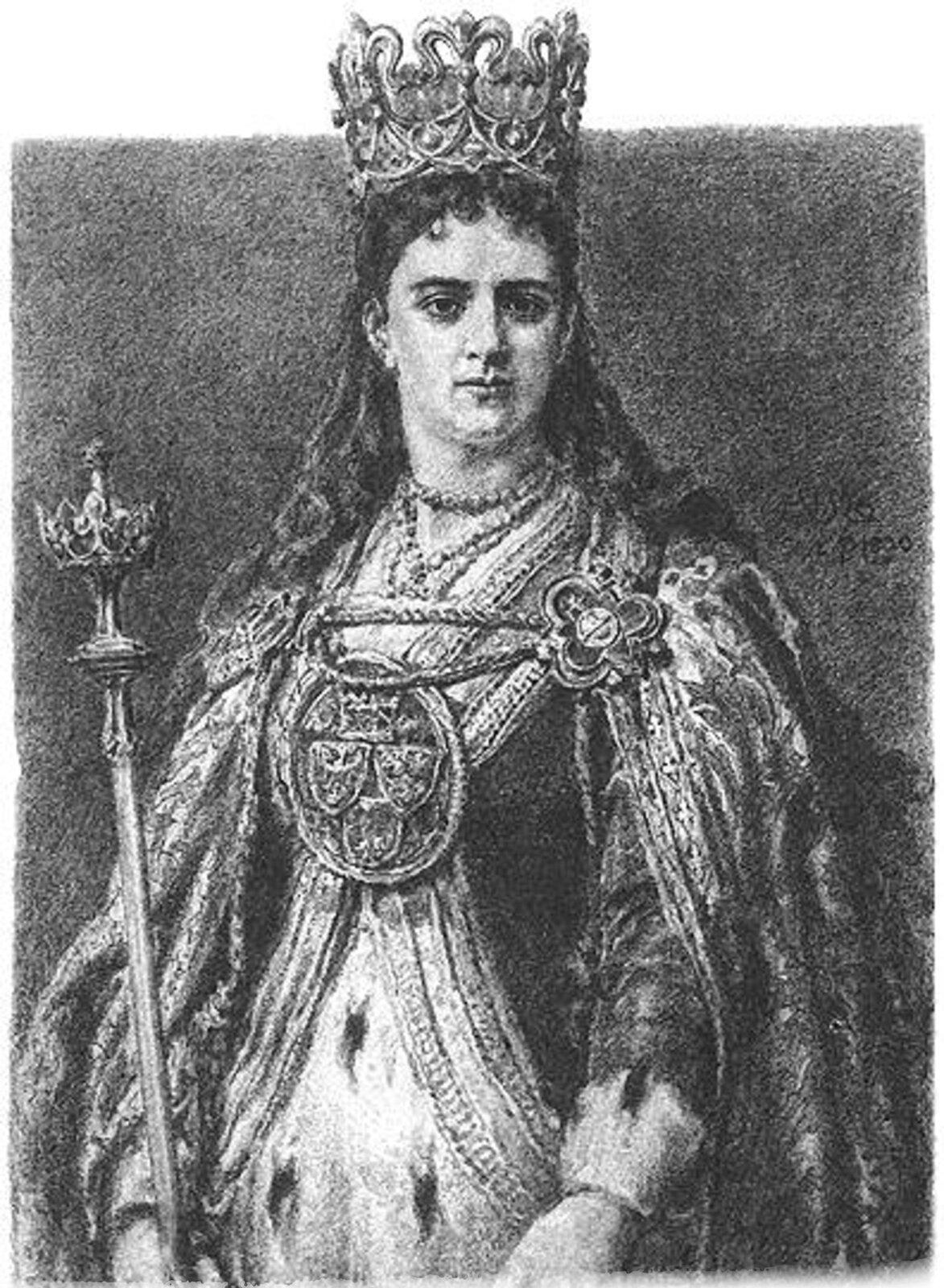 Ilustracja czarno-biała królowej Jadwigi. Królowa ma berło wprawej dłoni ikoronę na głowie. Ma długie włosy.