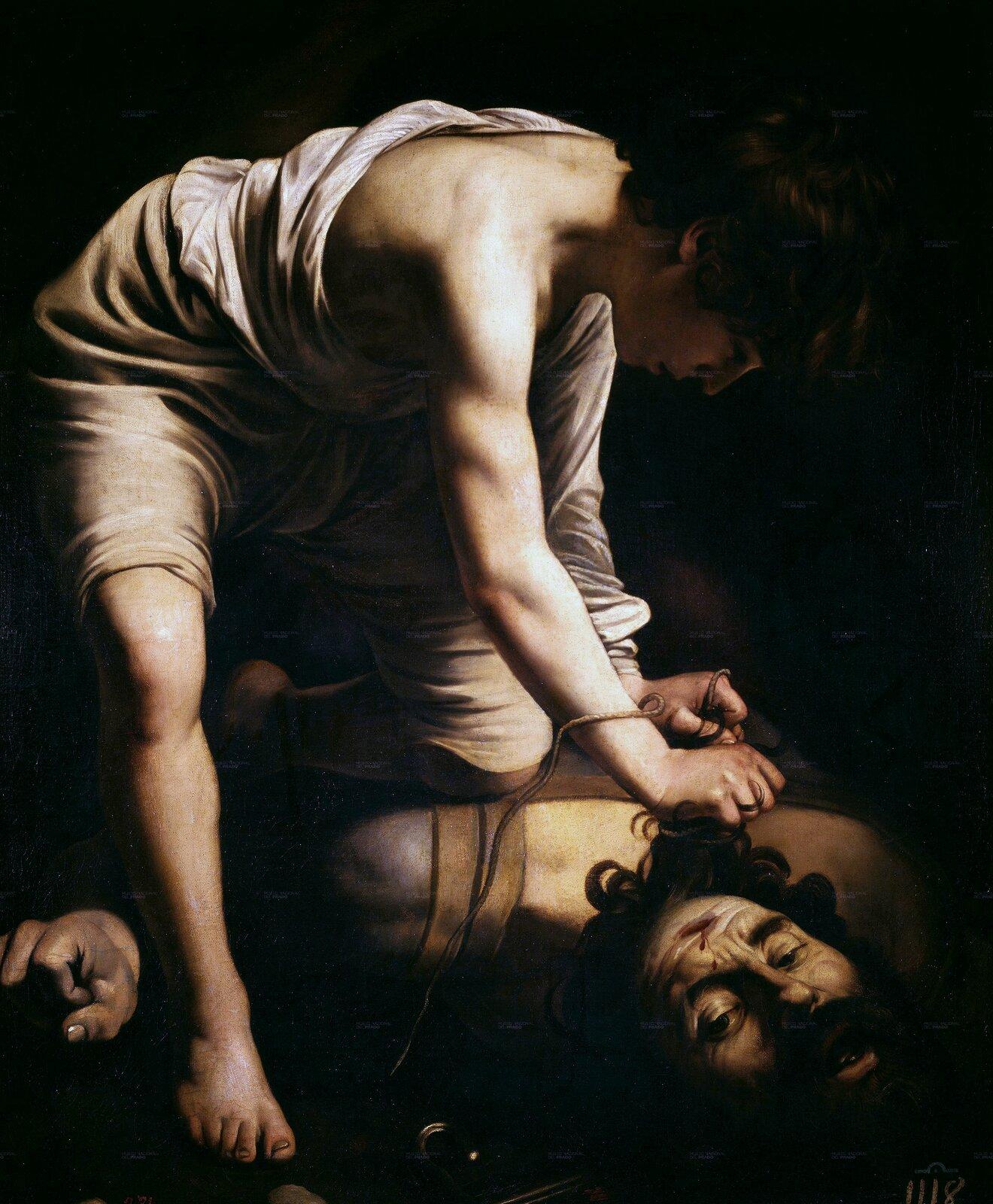 Dawid iGoliat Źródło: Caravaggio, Dawid iGoliat, 1600, olej na płótnie, Museo Nacional del Prado, domena publiczna.