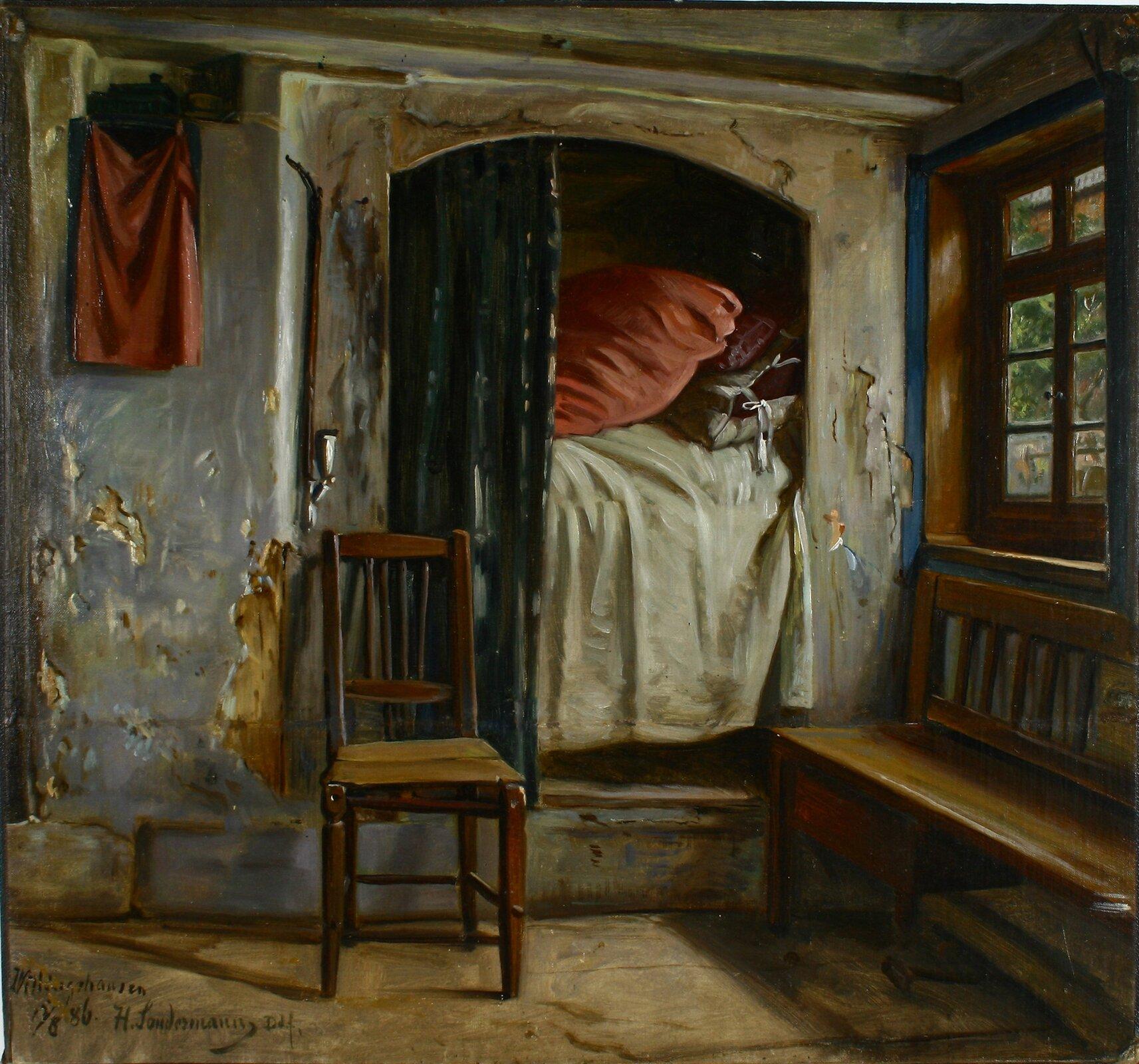 Alkowa Źródło: Hermann Sondermann, Alkowa, 1886, olej na płótnie zamontowany na tekturze, domena publiczna.