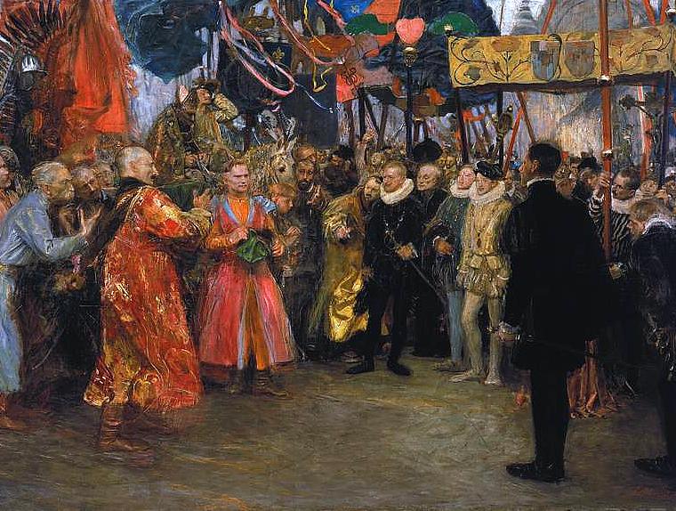 obraz przedstawia wyobrażenie polskiego poselstwa doHenryka Walezego