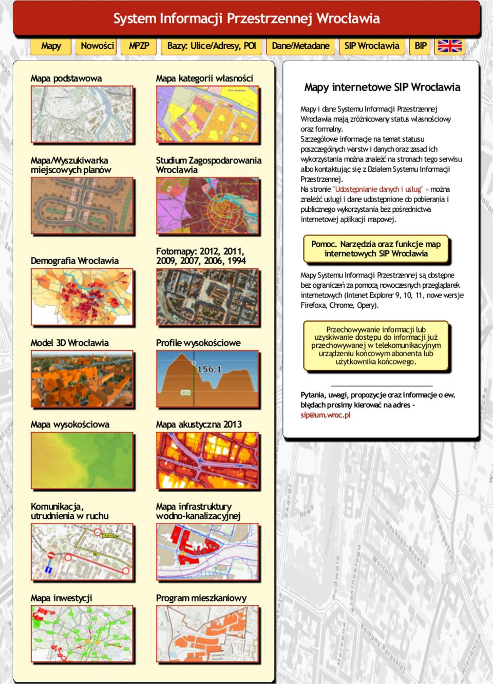 Ilustracja przedstawia stronę startową Systemu Informacji Przestrzennej Wrocławia.