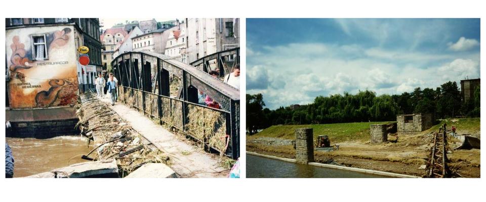 Dwie fotografie prezentujące skutki powodzi z1997 roku. Na pierwszej widoczny zniszczony do połowy most na rzece, po którym idą ludzie. Na drugiej fotografii widoczne pozostałości budowli stojącej na brzegiem rzeki.