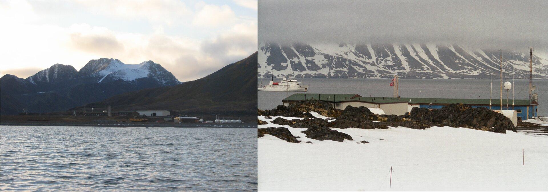 Dwie fotografie prezentują Polską Stację Polarna Hornsund na Spitsbergenie. Fotografia po lewej stronie, to wygląd stacji wlecie. Widoczna falująca woda, dalej na tle brązowych gór niskie budynki. Obok to samo miejsce wzimie. Widoczne duże ilości śniegu oraz niskie budynki stacji.