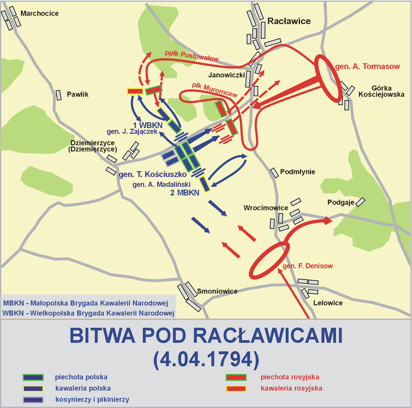 Plan Bitwy pod Racławicami 4 kwietnia 1794 r. Plan Bitwy pod Racławicami 4 kwietnia 1794 r. Źródło: Lonio17, Wikimedia Commons, licencja: CC BY-SA 4.0.
