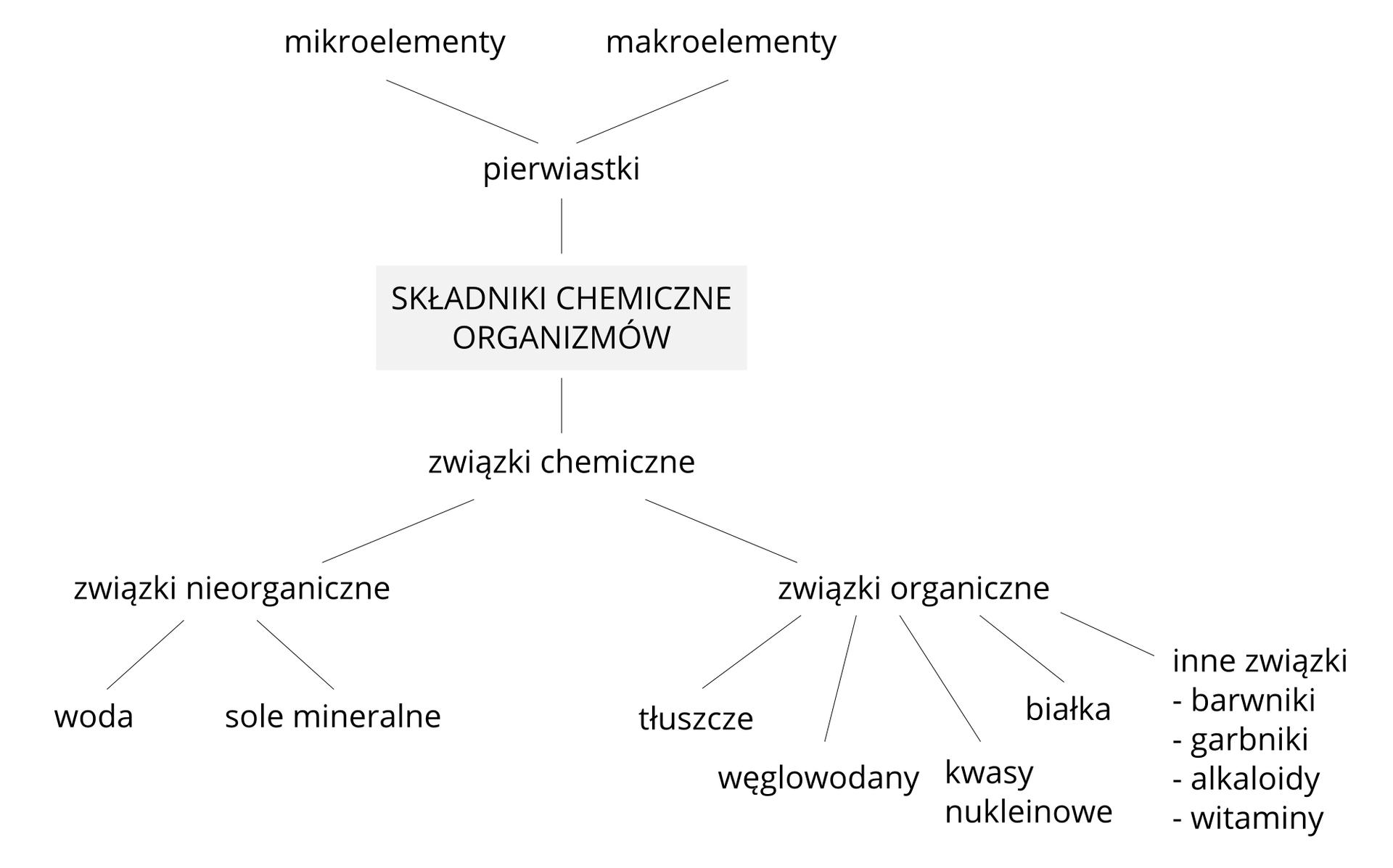 Ilustracja przedstawia schemat składników chemicznych, budujących organizm. Podzielono je na pierwiastki izwiązki organiczne. Ugóry są pierwiastki, które dzielą się na mikroelementy imakroelementy. Udołu znajduje się podział związków chemicznych na nieorganiczne iorganiczne. Nieorganiczne to woda izwiązki mineralne. Organiczne to tłuszcze, węglowodany, białka, kwasy nukleinowe iinne.