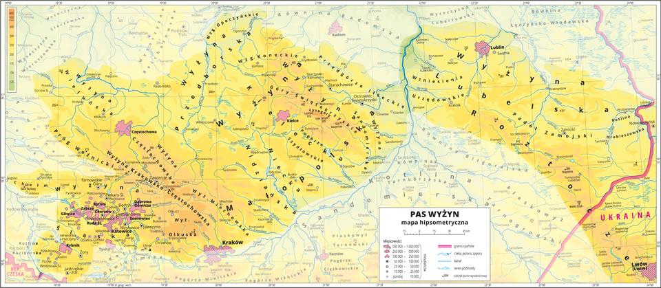 Ilustracja przedstawia fragment mapy hipsometrycznej Polski obejmujący pas wyżyn. Wobrębie mapy treść niedotyczącą pasa wyżyn została zamglona. Na mapie dominuje kolor żółty oznaczający wyżyny. Oznaczono iopisano miasta, rzeki, jeziora iszczyty. Opisano wyżyny iinne krainy geograficzne oraz państwa sąsiadujące zPolską. Czerwoną wstążko zaznaczono granice państw. Dookoła mapy wbiałej ramce opisano współrzędne geograficzne co trzydzieści minut. Wlegendzie opisano znaki użyte na mapie.