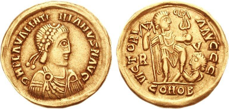 Solid wizygocki, 425–430 Źródło: Classical Numismatic Group, Solid wizygocki, 425–430, licencja: CC BY-SA 2.5.