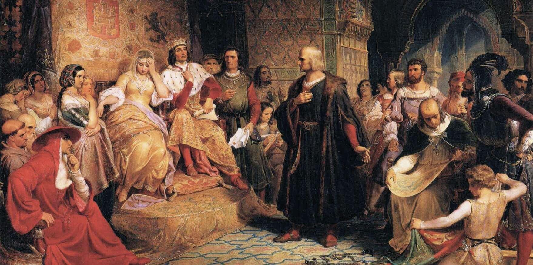 Kolumb przed królową Źródło: Emanuel Leutze, Kolumb przed królową, 1843, domena publiczna.