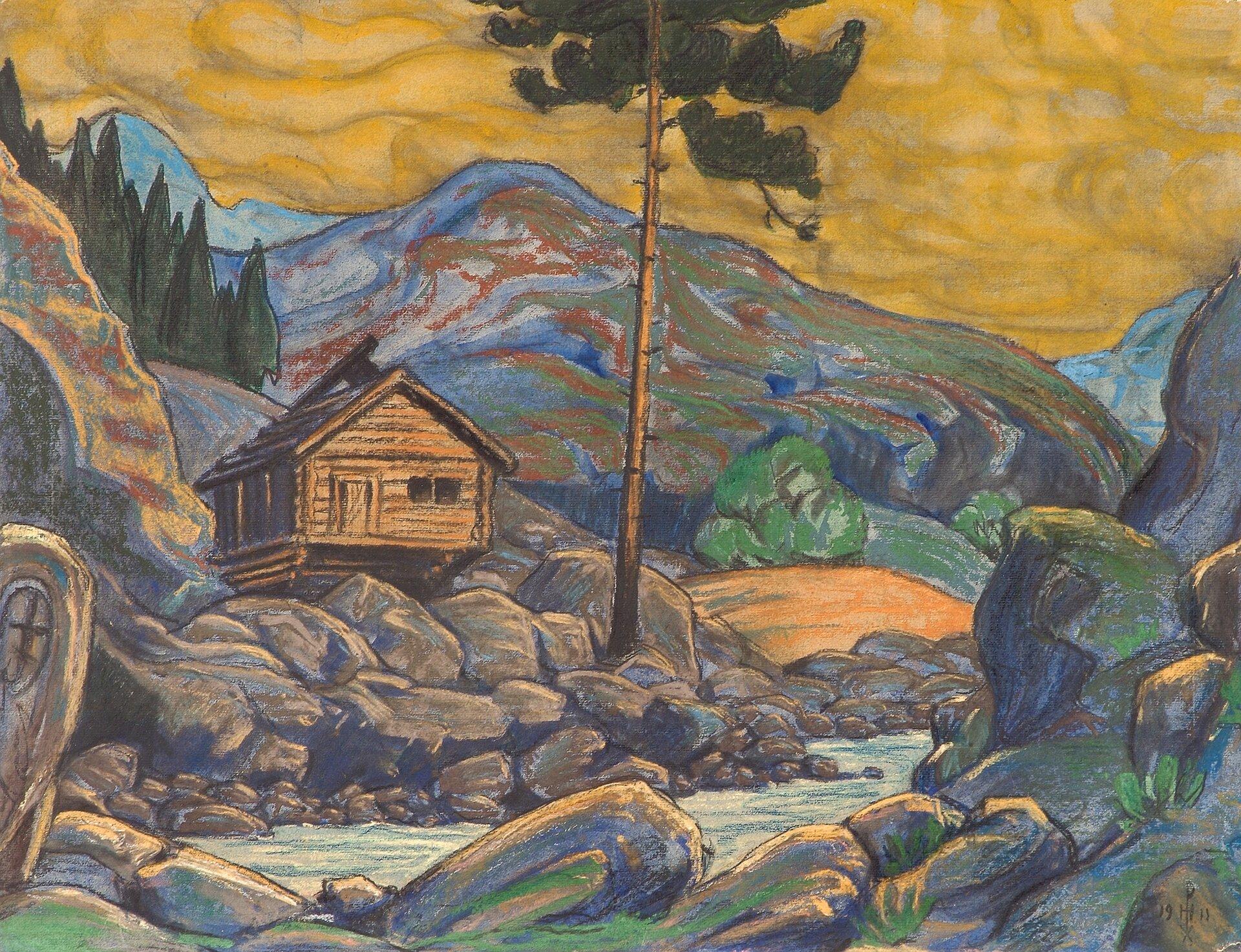 """Ilustracja przedstawia obraz """"Dom wgórach"""", autorstwa Nikołaja Roericha. Drewniana chata znajduje się na zboczu góry. Wdolnej części obrazu widoczny jest potok. Tło stanowi krajobraz górski."""