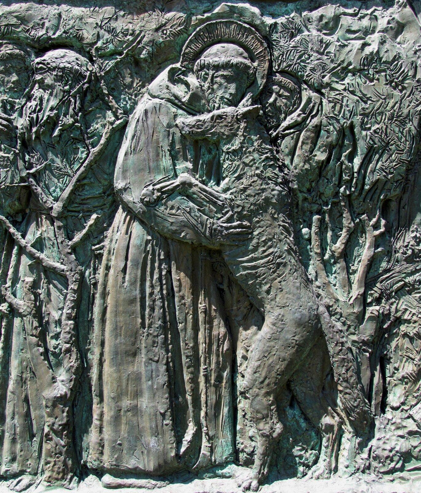 Święty Franciszek iwilk zGubbio Źródło: Święty Franciszek iwilk zGubbio, domena publiczna.