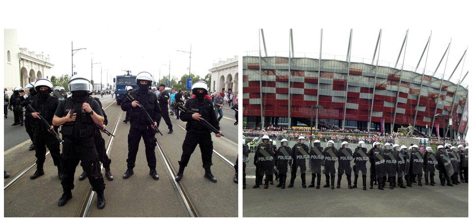 Grafika przedstawiająca Policję, składa się zdwóch kolorowych, ułożonych równolegle zdjęć. Lewa fotografia przedstawia oddział policji wcentrum miasta. Policjanci stoją obok siebie od lewej do prawej strony ulicy. Ubrani są wczarne mundury, kamizelki kuloodporne, ciężkie buty sięgające nad kostkę oraz hełmy. Wszyscy trzymają karabin skierowany lufą ku dołowi. Zkolei zdjęcie po prawej to plac przed Stadionem Narodowym wWarszawie, wzdłuż którego stoją policjanci ustawieni wrównym szeregu. Funkcjonariusze są ubrani wczarne kombinezony, ciężkie czarne buty sięgające nad kostkę oraz białe hełmy.