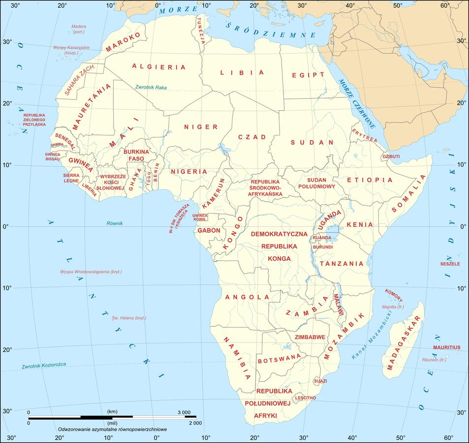 Mapa polityczna Afryki Mapa polityczna Afryki Źródło: Eric Gaba, licencja: CC BY-SA 3.0.