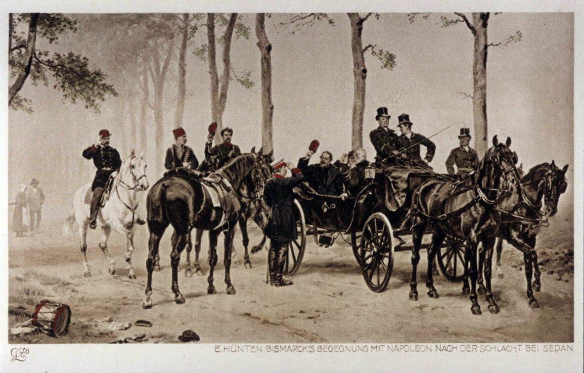 Bismarck spotyka Napoleona III po bitwie pod Sedanem. Pocztówka na podstawie obrazu Emila Hüntena Źródło: Bismarck spotyka Napoleona III po bitwie pod Sedanem. Pocztówka na podstawie obrazu Emila Hüntena, XIX w, domena publiczna.