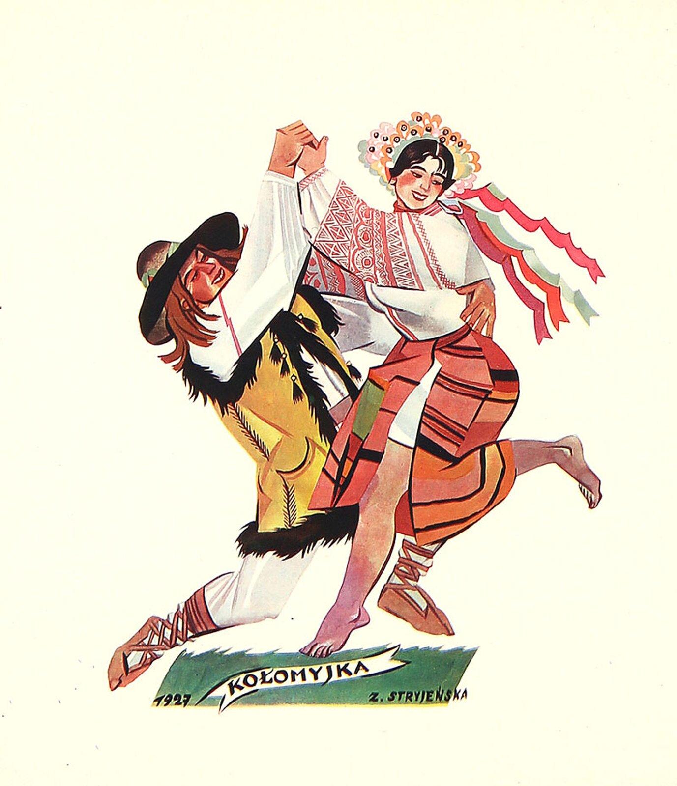"""Na ilustracji grafika Zofii Stryjeńskiej """"Kołomyjka"""". Przedstawia kobietę imężczyznę. Postaci ubrane są wkolorowe stroje ludowe. Mężczyzna ubrany jest wbiałą koszulę, jasne spodnie ikożuszek bez rękawów, na głowie ma czarny kapelusz. Kobieta ma kolorową żółto-pomarańczowo-czerwoną spódnicę ibiałą koszulę zczerwonymi haftami na rękawach."""