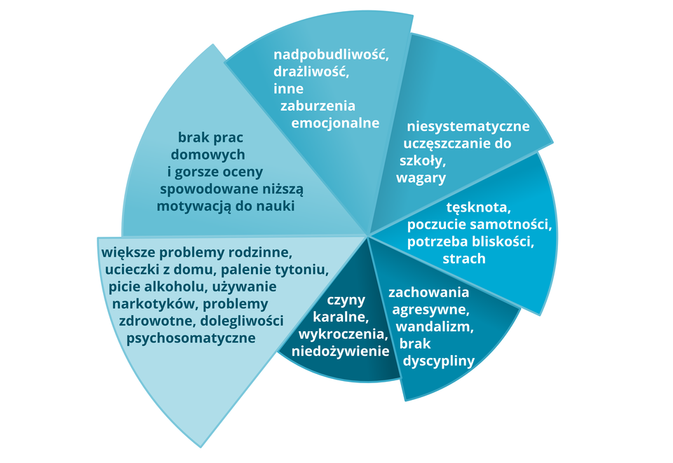 """Na ilustracji schemat problemów """"eurosierot"""" wPolsce. Wykres kołowy podzielony na siedem równych wycinków koła. Poszczególne wycinko koła wróżnych odcieniach koloru niebieskiego. Na wycinkach zapisane problemy: 1. czyny karalne, wykroczenia, niedożywienie, 2. brak prac domowych igorsze oceny spowodowane niższą motywacją do nauki, 3. niesystematyczne uczęszczanie do szkoły, wagary, 4. zachowania agresywne, wandalizm, brak dyscypliny, 5. nadpobudliwość, drażliwość, inne zaburzenia emocjonalne, 6. tęsknota, poczucie samotności, potrzeba bliskości, strach, 7. większe problemy rodzinne, ucieczki zdomu, palenie tytoniu, picie alkoholu, używanie narkotyków, problemy zdrowotne, dolegliwości psychosomatyczne."""