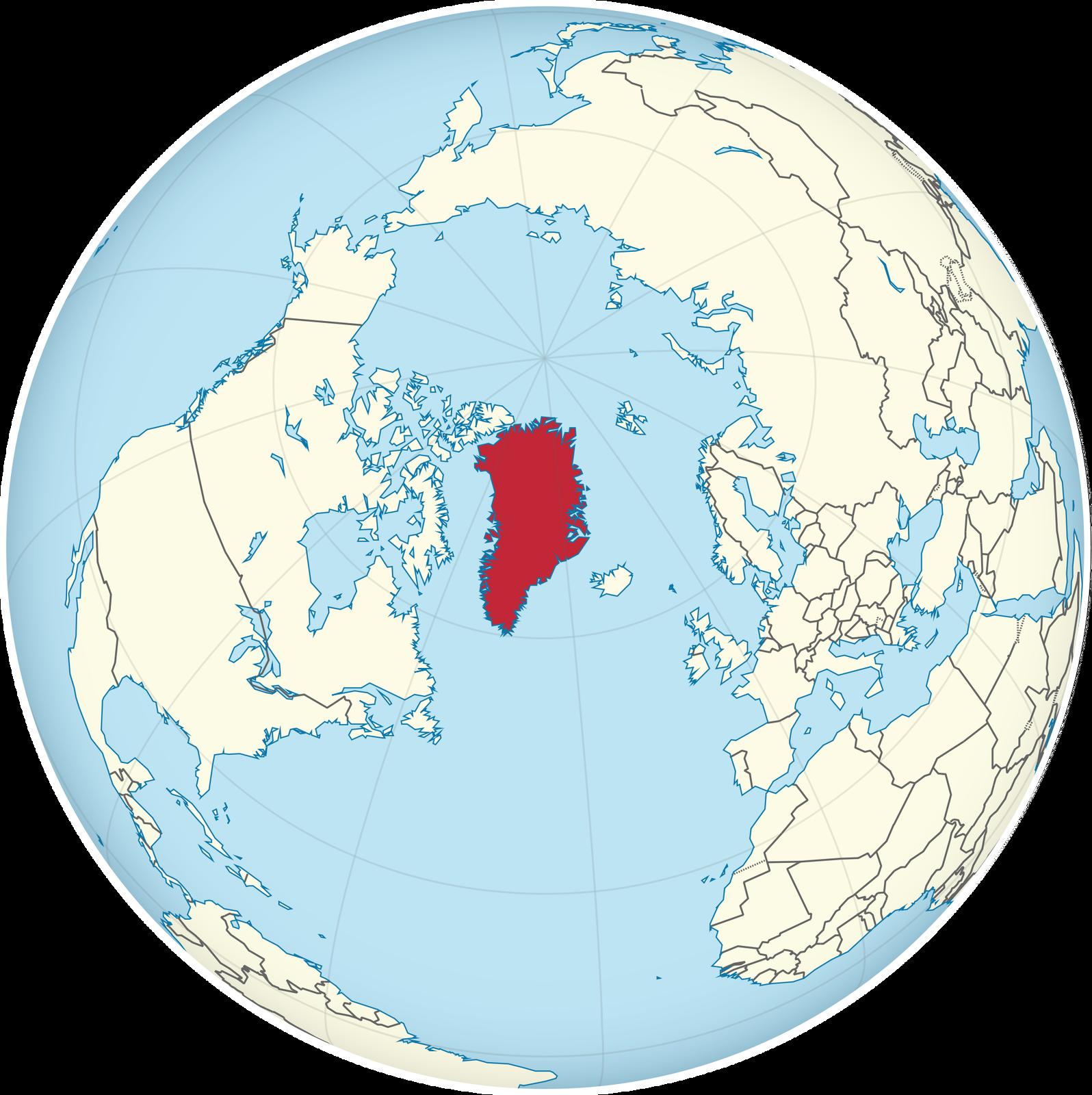 Ilustracja prezentuje kulę ziemską widzianą od strony bieguna północnego. Kolorem ciemnoczerwonym oznaczono Grenlandię.
