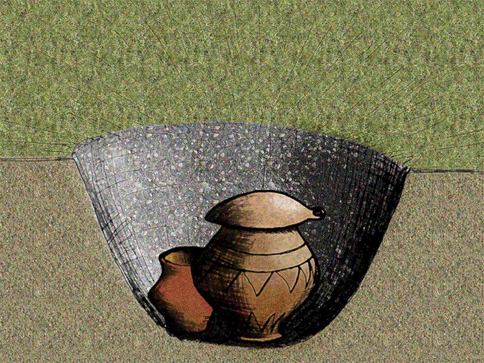 Typowy grób Europy środkowej wpóźnej epoce brązu Rekonstrukcja pochówku popielnicowego. Źródło: José-Manuel Benito Álvarez, Typowy grób Europy środkowej wpóźnej epoce brązu, 2006, rysunek, domena publiczna.