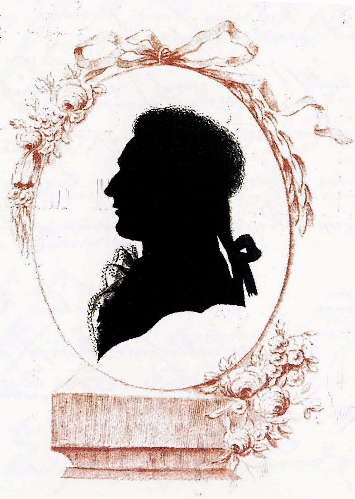"""Ilustracja przedstawiająca dzieło nieznanego autora pt. """"Sylwetka Ferdynanda Ernsta von Waldsteina"""". Ilustracja przedstawia portret mężczyzny wstroju zXVIII wieku."""