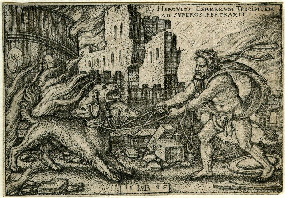 Herakles iCerber Źródło: Hans Sebald Beham, Herakles iCerber, 1545, domena publiczna.