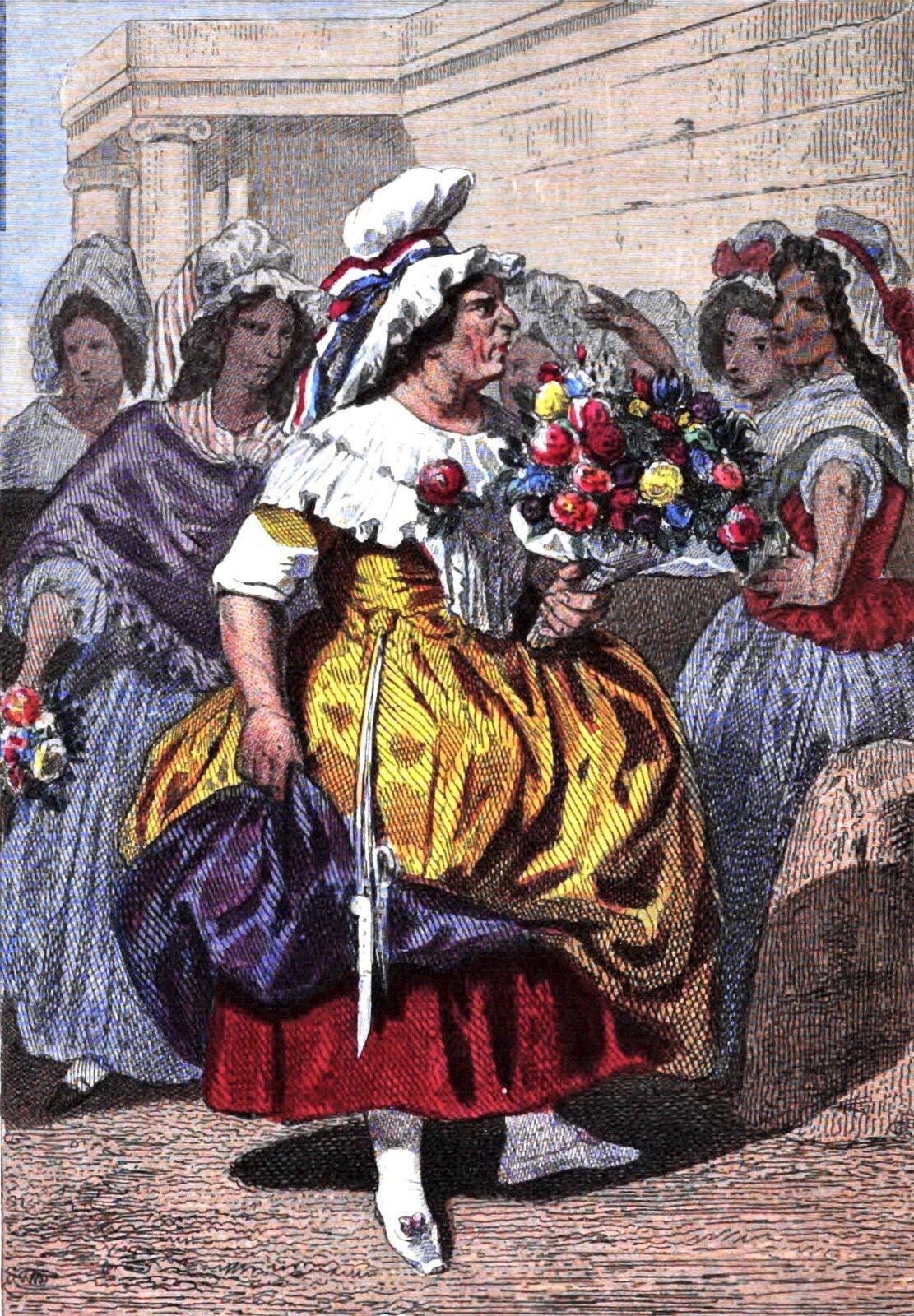 Na obrazie grupa kobiet, wśród nich, wcentrum kobieta zbukietem kwiatów