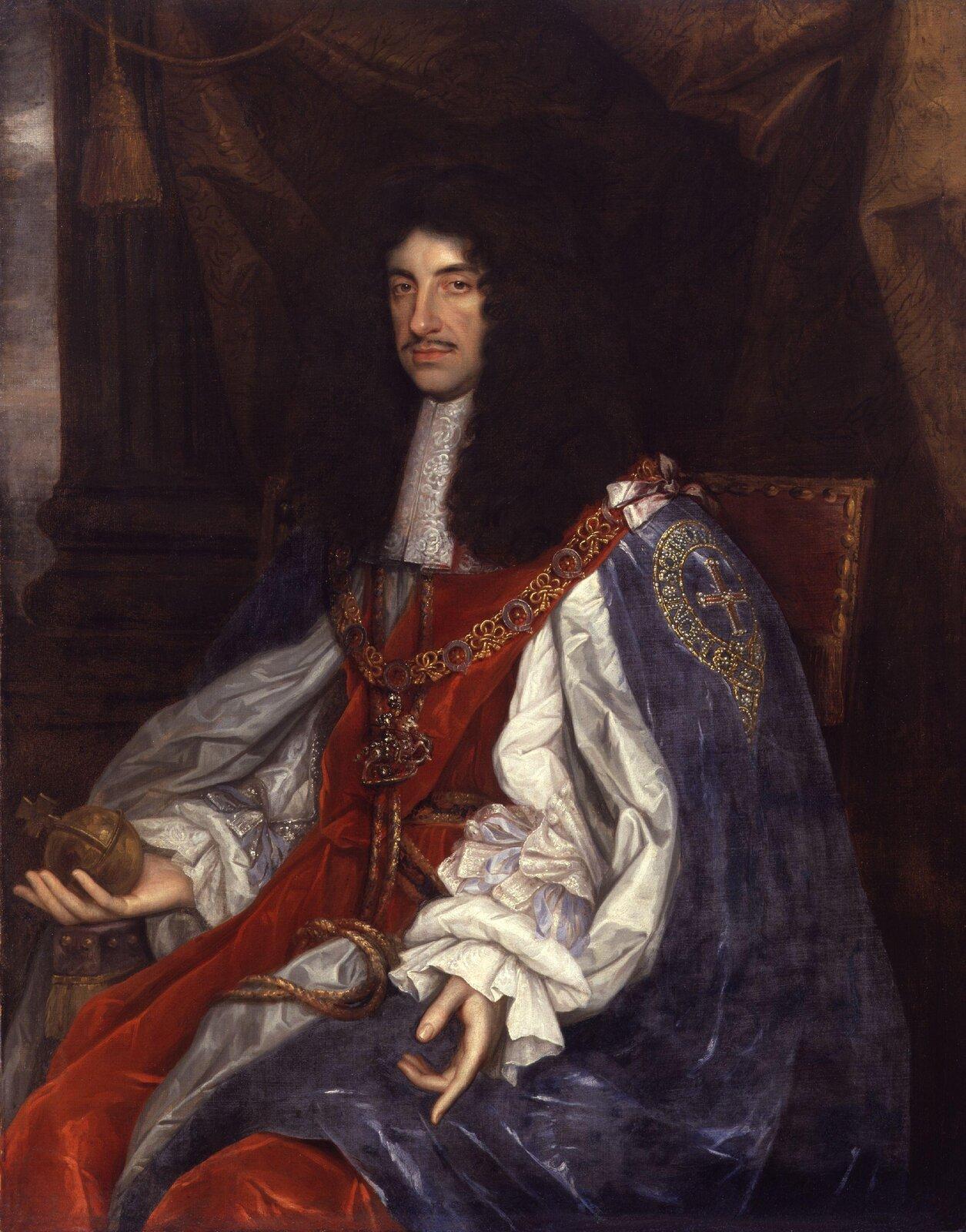 Karol II Stuart Źródło: John Michael Wright, Karol II Stuart, 1660-1665, domena publiczna.