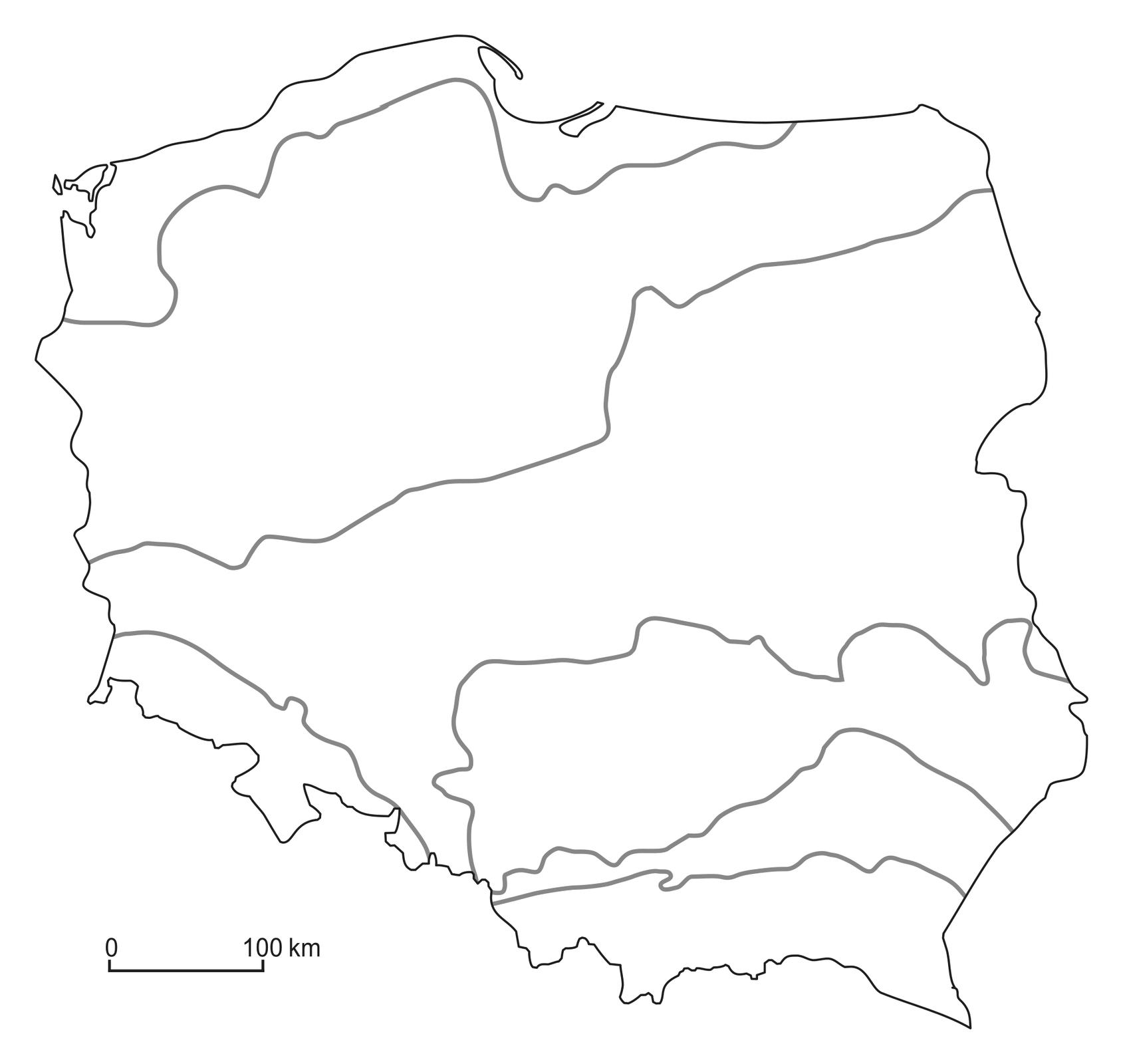 Na ilustracji mapa konturowa. Wydzielono pasy rzeźby terenu wPolsce.