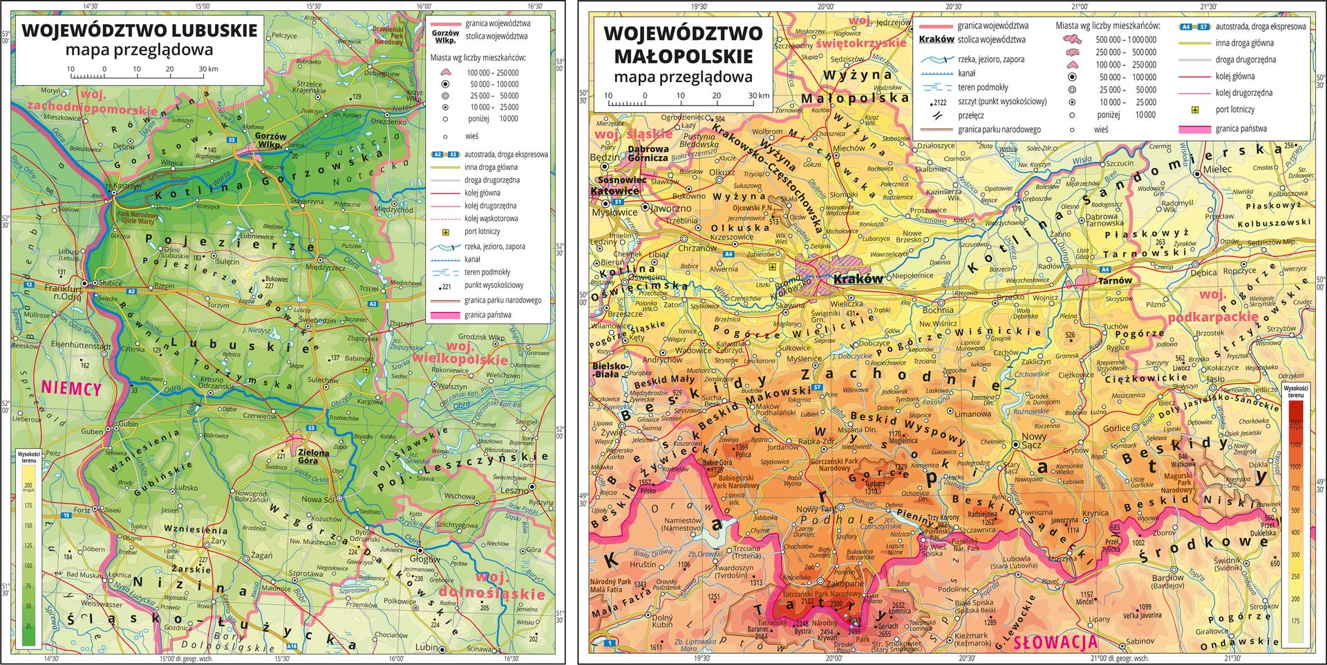 Ilustracja przedstawia dwie mapy poziomicowe. Od lewej mapa terenu równinnego, na którym widoczny jest kolor: ciemnozielony, zielony ijasnozielony. Po prawej stronie widoczna mapa terenu wyżynnego igórzystego, na którym widoczny jest kolor: żółty, pomarańczowy, brązowy, ciemnobrązowy iczerwony.