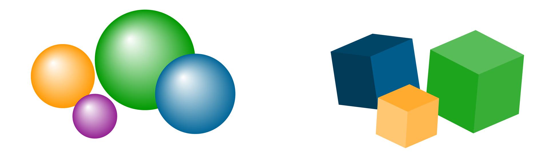 Rysunki czterech kul itrzech sześcianów.