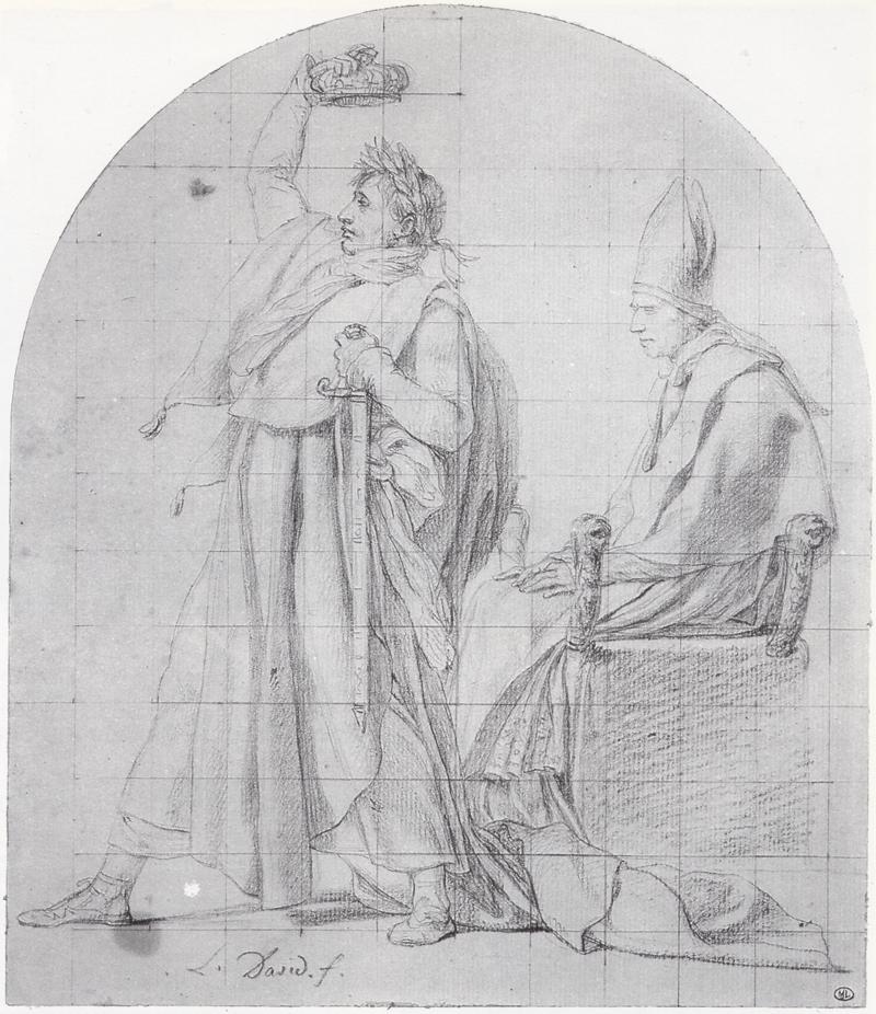 Szkic do obrazu, Po prawej stronie obrazu, na tronie siedzi papież, po stronie lewej stoi mężczyzna który samwkłada sobie na głowę koronę.
