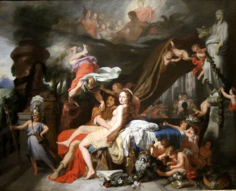 Hermes nakazuje Kalipso uwolnić Odyseusza Źródło: Gérard de Lairesse, Hermes nakazuje Kalipso uwolnić Odyseusza, 1670, Museum of Art, Cleveland, domena publiczna.